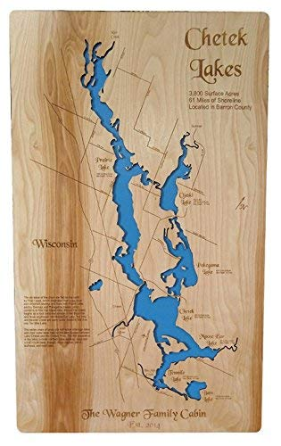 Chetek Chain of Lakes in Wisconsin: Standout Wood Map Wall ()