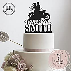 Bride & Groom Riding A Motorcycle Chopper HD Bike Mr Mrs Biker Personalized Wedding Cake Topper Customized Last Name | Solid Color Cake Toppers