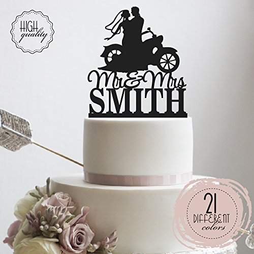 A Motorcycle Chopper HD Bike Mr Mrs Biker Personalized Wedding Cake Topper Customized Last Name | Solid Color Cake Toppers ()