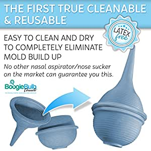 BoogieBulb Baby Nasal Aspirator and Booger Sucker for Newborns and Toddlers - Cleanable and Reusable Baby Nasal Aspirator Syringe - Hospital Medical Grade Nose Suction - 2 Ounce