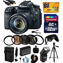Canon EOS 70D Digital SLR Camera with 18-135mm STM Lens includes 32GB Memory + Flash + Extra Battery + Travel Charger + Lens Hood + UV-CPL-FL-ND4-10x Macro Filters + Card Reader + Hand/Wrist Grip