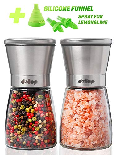 Salt Satin Mill - Salt and Pepper Grinder Set – Glass Shakers & Adjustable Ceramic Rotor in 2 Stainless Steel Mills + Silicone Funnel & 2 Citrus Sprayer – Best for Tasty and Healthy Food by Dollop