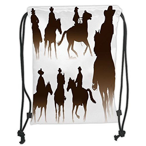 Custom Printed Drawstring Sack Backpacks Bags,Western,Collection of Horseback Riding Silhouettes Bridle Ranch Stallion Equestrian Theme Decorative,Dark Brown Soft Satin,5 Liter Capacity,Adjustable Str - Stallion Collection