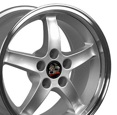17x9 Wheel Fits Ford Mustang - Cobra R Style DD Silver w/Mach'd Lip Rim