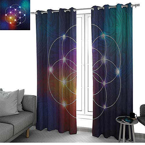 Benmo House Circle Room Divider Curtain Screen Partitions Digital Overlapping Circles Grid Geometric Centered on Triangles Esoteric Energy Motif Curtain Living Room Indigo W120 x L84 -