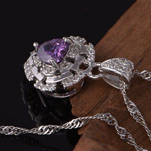 Epinki, Bijoux Pendentif Collier Plaqu¨¦ or Femme Coeur Forme Cristal Zircone Cubique Cha?ne