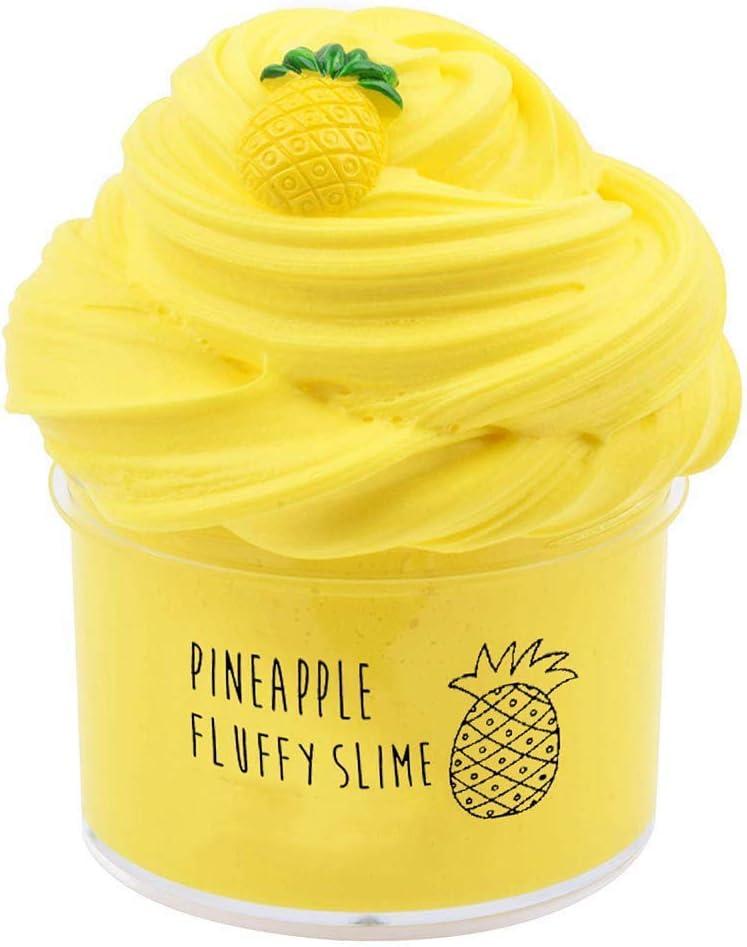 BESTZY Fluffy Pineapple Cloud Slime 2020 Lo Nuevo 200ML Fairy Putty Stress Relief Toy Perfumado Sludge Toy Niños Adultos