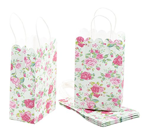 (Paper Gift Bag - 24-Pack Vintage Floral Party Favor Bags, Paper Treat Bags for Weddings, Pink Rose Design, 5.3 x 8.5 x 3.1 Inches)