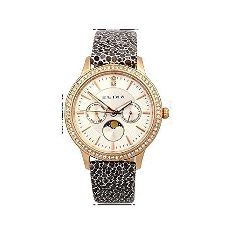 Reloj Para mujeres E088-L333-K1 Elixa con la pulsera de acero CASO DE LA PIEL, de color dorado VENDIDO CON GARANTÍA Y