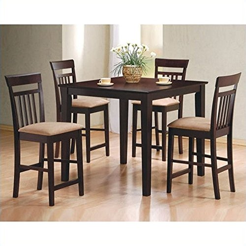 coaster-5pc-cappuccino-finish-counter-height-dining-table-and-4-barstools-set