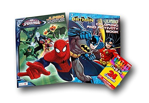 Comic Book Superheroes Coloring Bundle - Batman and Spider-Man with Box of 24 Crayons -