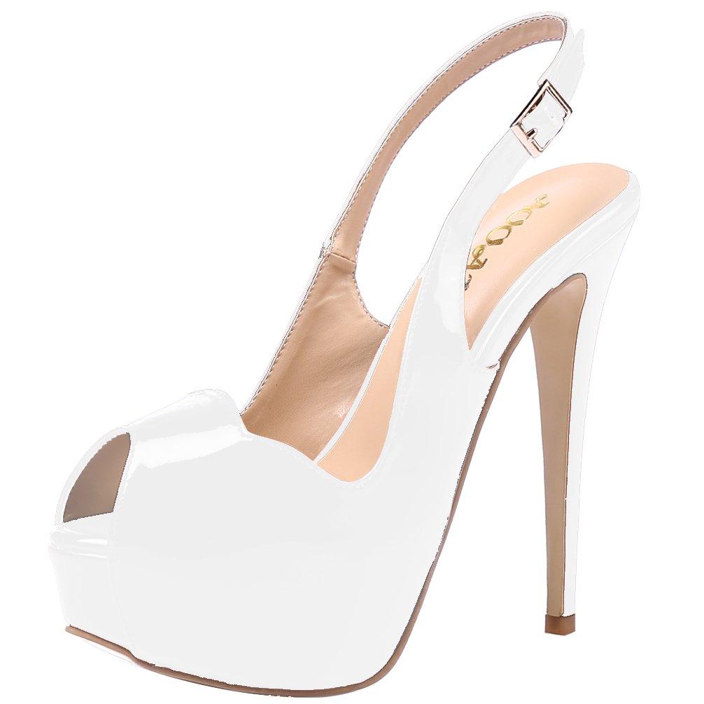 AOOAR Women's Slingback High Heels Party Pumps With Hidden Platform B072155XBL 11 US / 43 EU Women|White Patent