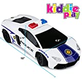 Kiddie Play RC Remote Control Toy Police Car for Kids 1/16 Scale with Lights and Siren