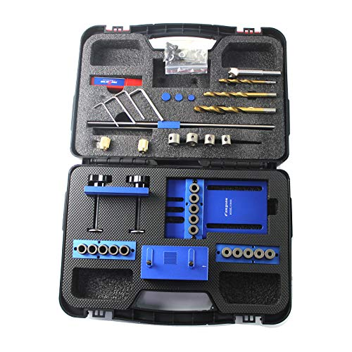 (SINOCMP Doweling Jig Kit with 5 Dowel Drilling Sleeves (6/8/10mm) For Precision Woodworking, Blue Aluminum Alloy Dowel Jig, 5 Years Warranty, Have Install Instruction On)