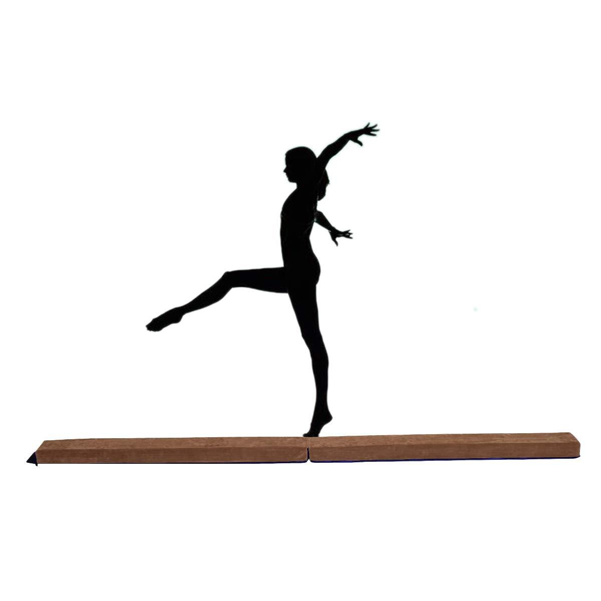 GOPLUS Poutre de Gymnastique Conception Pliable et Antidérapante Poutre d'Equilibre-Convient aux Enfants et Adultes-2,4M Bleu Café
