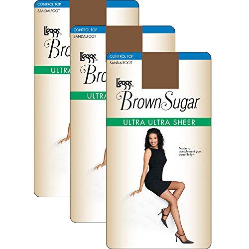 f 3 L`eggs Brown Sugar Ultra Sheer Control Top Pantyhose XL, Jet Brown ()