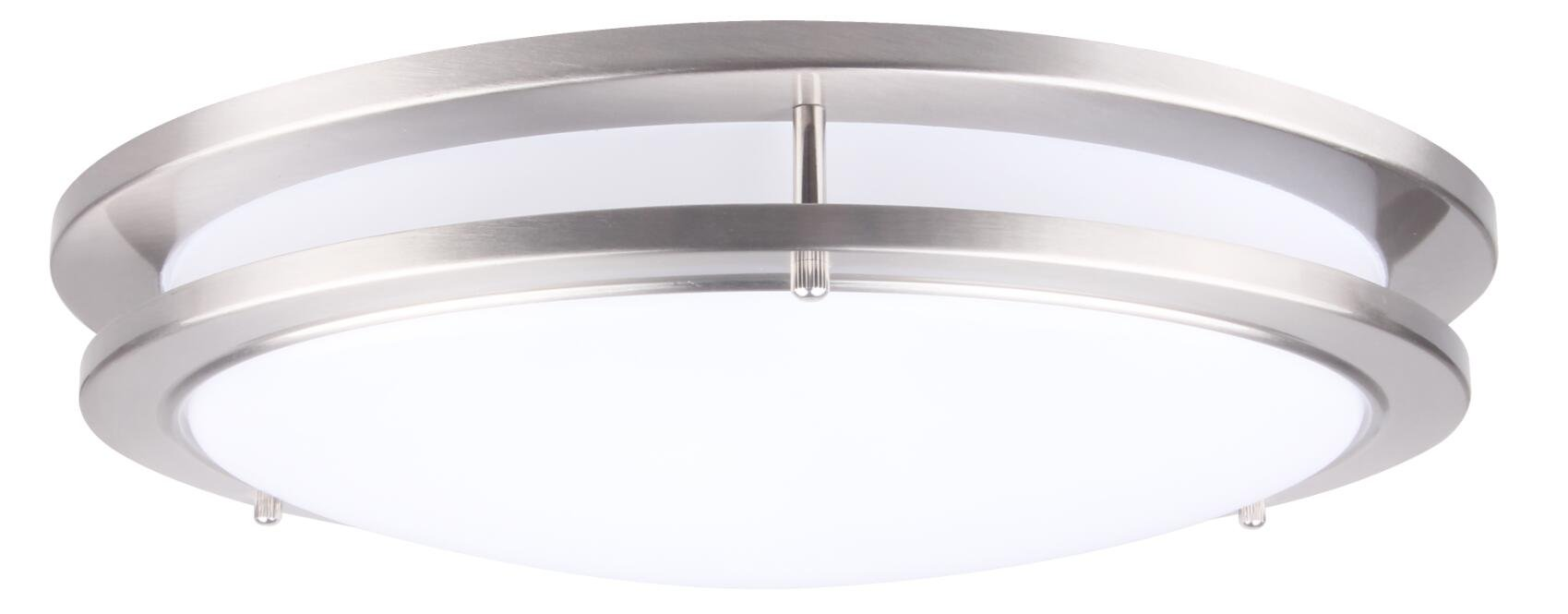 Lit-Path 15 inch Dimmable LED Flush Mount Ceiling Lighting Fixture, 27.5W Replace 200W, 1925 Lumen, Satin Nickel Finish, ETL and ES Qualified
