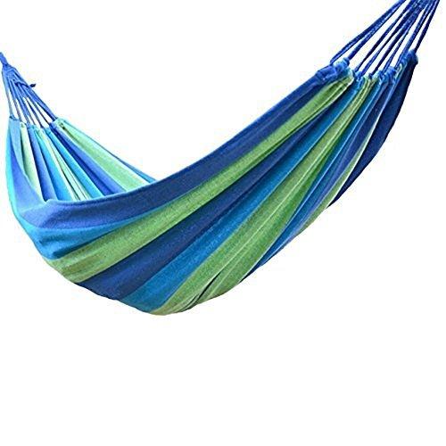 Kapoo Outdoor Leisure Double Cotton Hammocks Ultralight Camping Single-person Hammock (Blue)