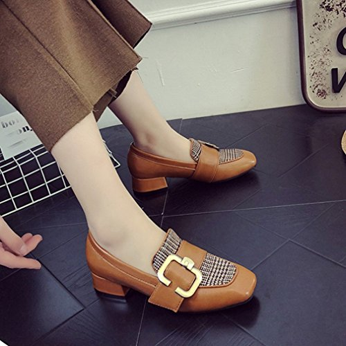 Giy Femmes Boucle Classique Pompes Mocassins Orteil Carré Slip-on Bloc Robe Talon Penny Loafer Chaussures Oxford Tan