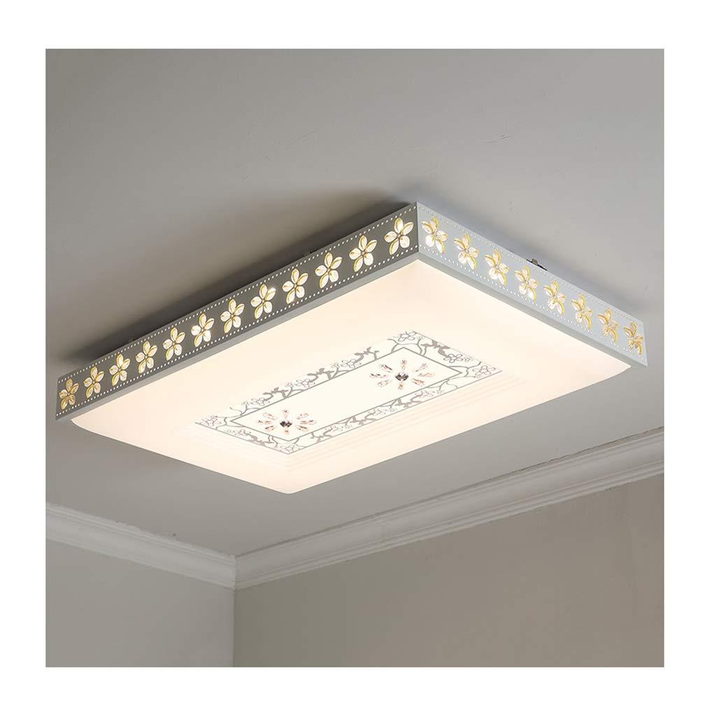 天井照明 シーリングライト現代のシンプルなledアイアンアクリル長方形のリビングルームの装飾寝室の研究ダイニングルームエントランスオフィスホテル天井ランプ シーリングライト (Color : Stepless dimming, Size : B 95*65cm/72w)   B07SH19ZD6