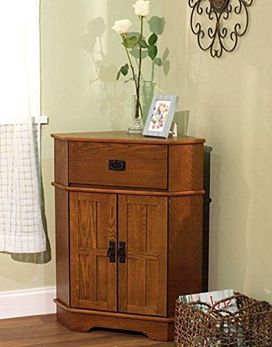 Mission Corner Floor Cabinet with Top pull-out try and Brown Shutter Doors Brown Corner Cabinet Room Décor Furniture Corner Wall Cabinet Corner Storage Cabinet Corner Bathroom Cabinet