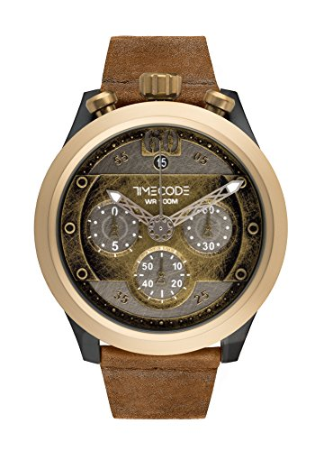 Timecode Moon 1969 TC-1015-04 46mm Men's Watch Vintage Gold dial CARAMEL leather strap Date Chronograph