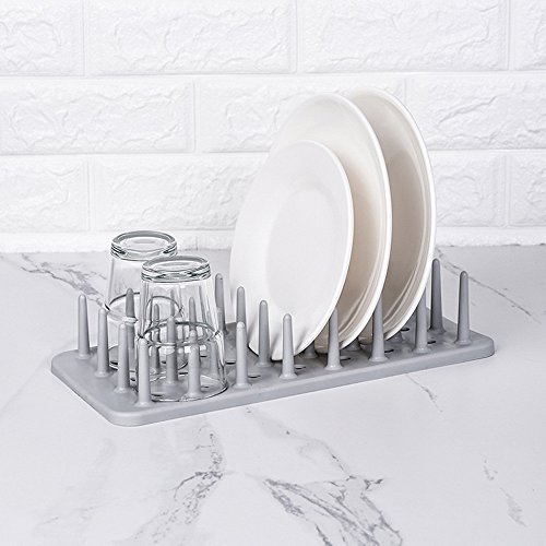 Gotian Kitchen Dish Rack Dish Plate Pot Lid Cover Drying Drain Holder Plastic Storage Rack Shelf -