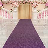 TRLYC Purple Marriage Ceremony Runner Wedding Sequin Aisle Runner-48Inch by 15FT