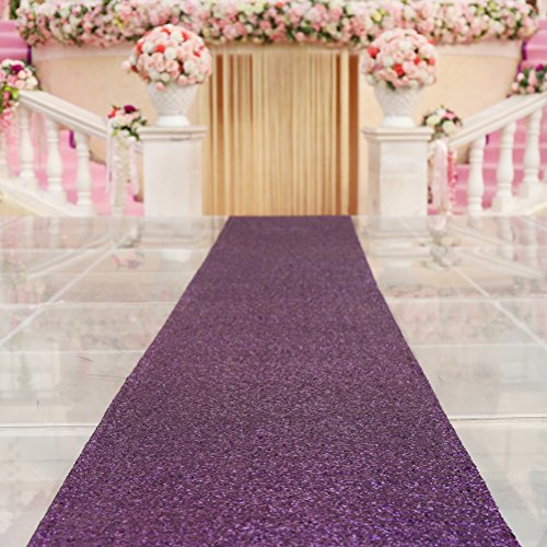 TRLYC Purple Marriage Ceremony Runner Wedding Sequin Aisle Runner-48Inch by -