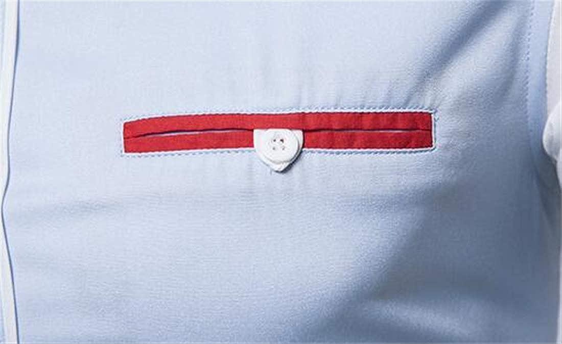 Domple Mens Regular Fit Color Block Long Sleeve Flap Pockets Fashion Button Up Shirt
