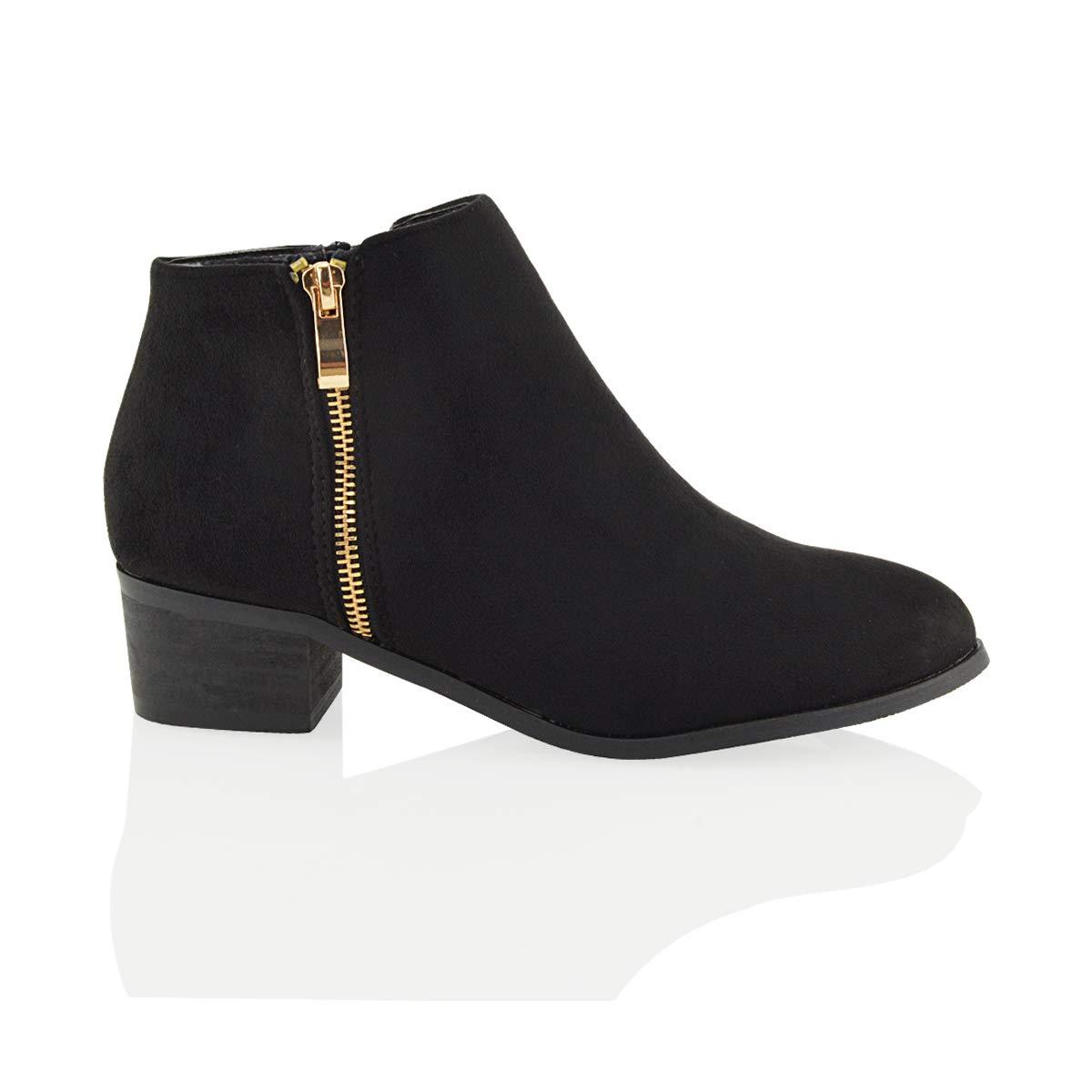96f4e67cd90 Womens Ladies Low Heel Block Cowboy Style Ladies Gold Zip Western Ankle  Boots