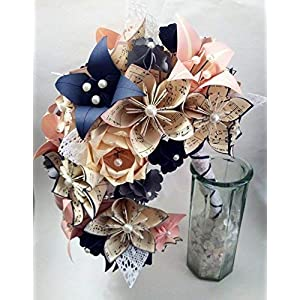 Custom Cascading Wedding Bouquet of Paper Flowers- Your choice of Sheet Music & Accent Colors 104