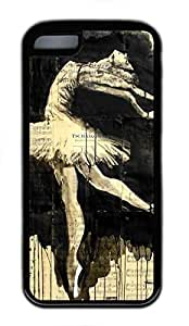 Soft Rubber(TPU) Case Back Cover with Vintage Ballet Ink Art Printed,Black TPU Case Shell for iPhone 5C