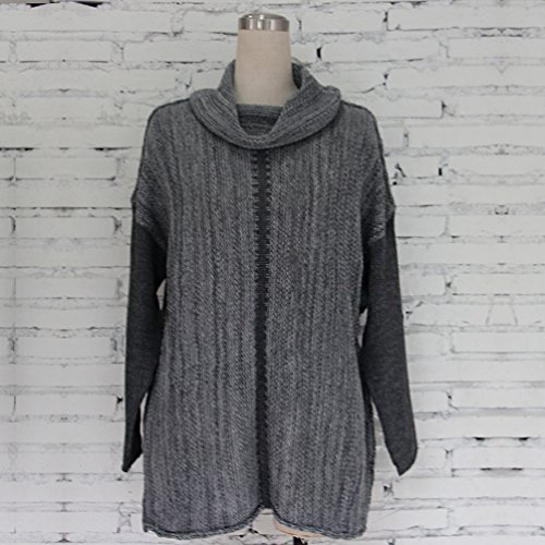 Couleur Col ZKOO Hiver Pulls Loose Epissure Femme Manches Haut Longue Tricot Chandails awUFZ0wq