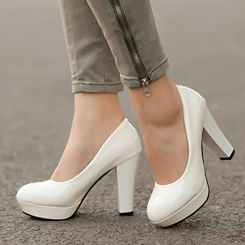Women's heeled White Solid color shoes platform round Waterproof high head thin Thick 64pnPxr86