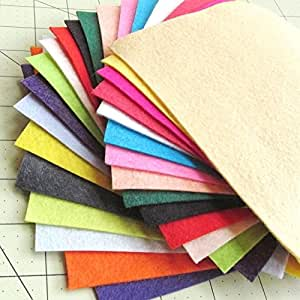 """21 Sheets Summer Colors Collection Merino Wool blend Felt Sheets Sewing DIY Craft 6""""X12"""""""