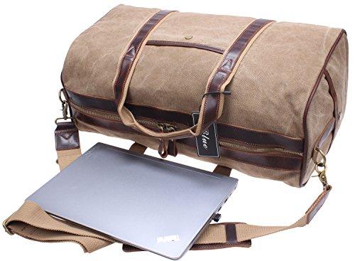 Iblue Canvas Weekender Duffel Tote Leather Trim Travel Luggage Sports Gym Bag 21in #i521 (XL, khaki) by iblue (Image #5)