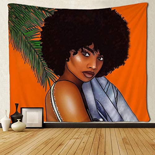 SARA NELL Black Art Tapestry Wall Tapestry Black Girl African Girl African American Women Girl Orange Design Wall Hanging Tapestries Tapestry for Living Room Bedroom Dorm Decor 60×90 Inches