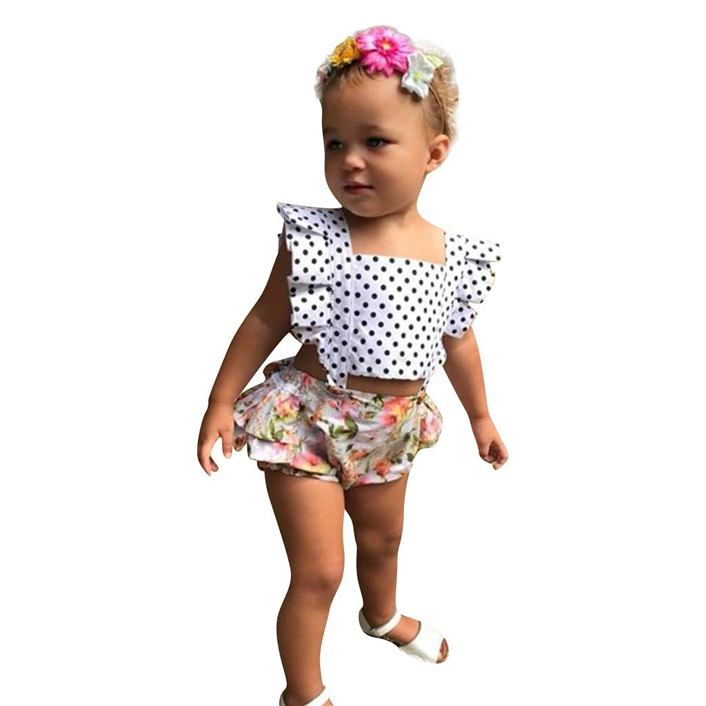 Perman Newborn Infant Baby Girl Dot Floral Romper Bodysuit Sleeveless Clothes Outfits 0-24 Months