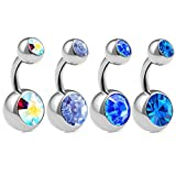 4pcs 14g 1/4 Short Belly Button Rings Navel Jewelry Surgical Steel Crystals Earring Non Dangle Banana Piercing Stud ACPF