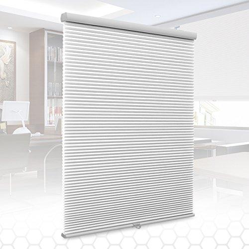 SUNFREE Cordless Cellular Shades Light Filtering Honeycomb Blinds Fabric Window Blinds 23x64, White