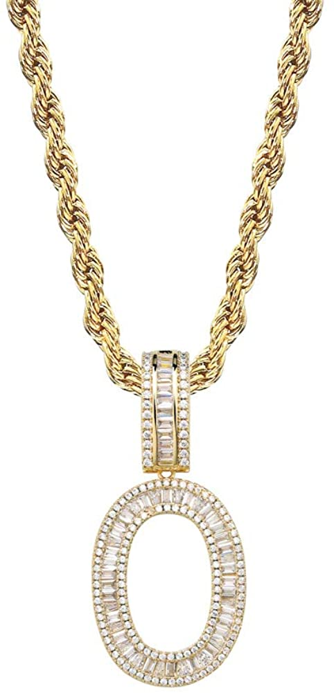 GUCY Baguette Initial Letter Pendant Necklace Cubic Zirconia Iced Out Letter Initial Pendant Necklace 24 Rope Chain