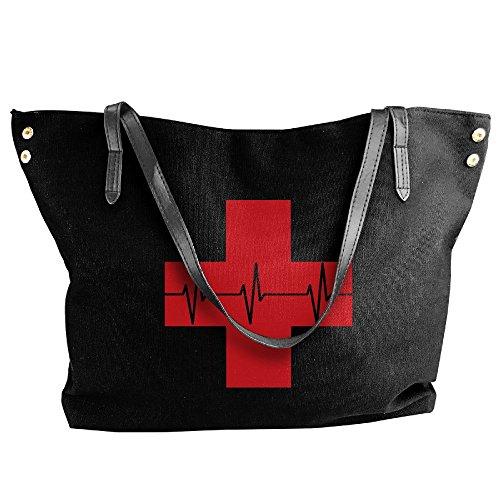 Handbags Canvas First Women's Large Aid Tote Doctor Shoulder Handbag Black Sqw8BRwd