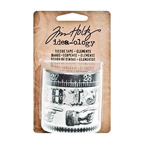 by Tim Holtz Idea-ology, 4 Rolls per Pack, 10 Yards Each, Assorted Widths, Black/White, TH93068 ()