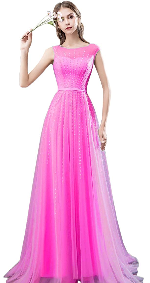 Fuchsia EileenDor Women's Beading Cap Sleeve Evening Dresses Crew Neck Tulle A Line Formal Dresses with Sweep Train
