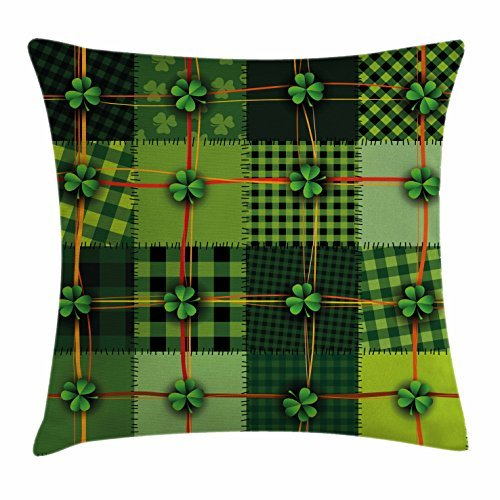 (Irish Throw Pillow Cushion Cover, Patchwork Style St. Patrick's Day Themed Celtic Quilt Cultural Checkered with Clovers, Decorative Square Pillow Case, 18 X 18 Inches,)