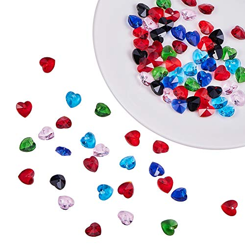 - PandaHall Elite 70 pcs 7 Colors Faceted Heart Charms Glass Beads Dangle Charms Beads for Pendant Bracelet Earring DIY Crafts Jewelry Dangle Making Findings Supplies