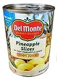 Del Monte PINEAPPLE SLICES in 100% Pineapple Juice 20oz (3 Pack)