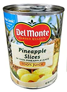 Del Monte PINEAPPLE SLICES in 100% Pineapple Juice 20oz (2 Pack)