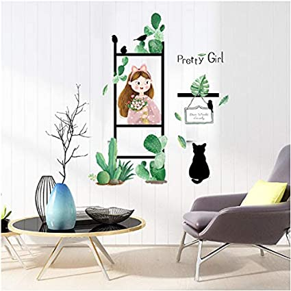 Pergola Girl Green Plants Wall Sticker Fresh Removable Living Room Balcony Bedroom Decals Office Coffee Store Decoration: Amazon.es: Bebé